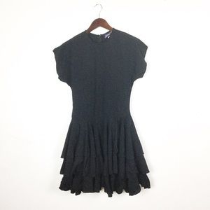 Vintage 1980s Black Tiered Ruffle Party Dress